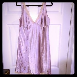 Lilac with cream lace trim slip dress